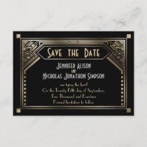 Gold Shaded Gatsby Art Deco Wedding Save the Date