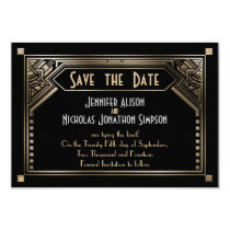 Gold Shaded Gatsby Art Deco Wedding Save the Date Card