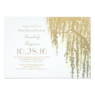 Gold Shades Willow Tree Elegant Bridal Shower Card