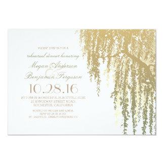 Gold Shades Willow Tree Elegant Rehearsal Dinner Card