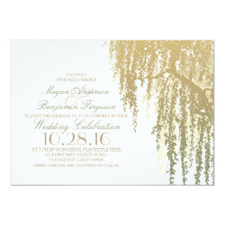 Gold Shades Willow Tree Elegant Wedding Card