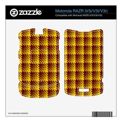 Gold Shadow Check Decals For Motorola RAZR