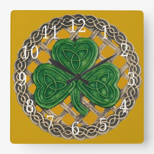 Gold Shamrock And Celtic Knots Square Clock