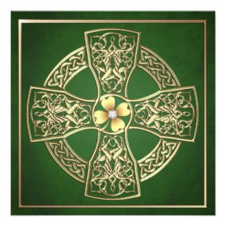 Gold Shamrock Celtic Cross St Patrick's Day Invitations