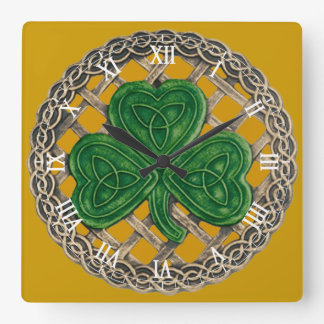 Gold Shamrock & Celtic Knots Roman Numeral Clock