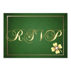 Gold Shamrock Celtic St Patrick's Day Rsvp Card at Zazzle
