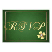 Gold Shamrock Celtic St Patrick's Day Rsvp Card