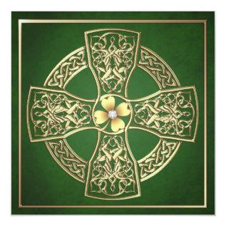 Gold Shamrock Celtic St Patrick's Day Wedding Card at Zazzle