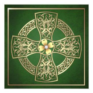 Gold Shamrock Celtic St Patrick's Day Wedding Announcements