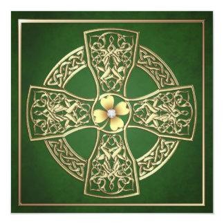 "Gold Shamrock Celtic St Patrick's Day Wedding 5.25"" Square Invitation Card"