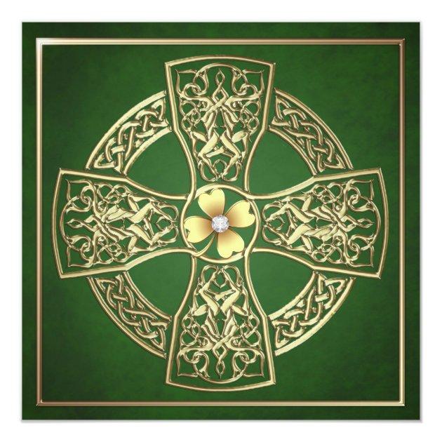 Gold Shamrock Celtic St Patrick's Day Wedding Invitation