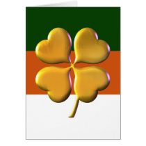 gold shamrock irish flag St Patrick's day card