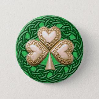 Gold Shamrock On Celtic Knots Button