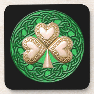 Gold Shamrock On Celtic Knots Coasters
