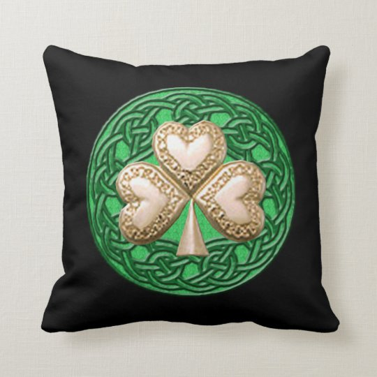 Gold Shamrock On Celtic Knots Reversible Pillow