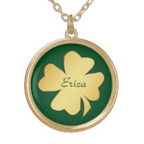 Gold Shamrock on Green Personalized