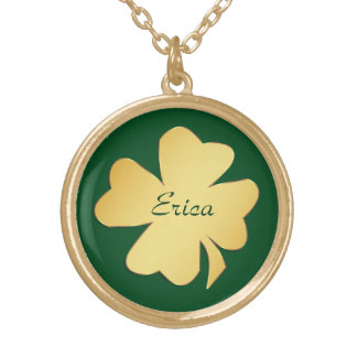 Gold Shamrock on Green Personalized Gold Plated Necklace