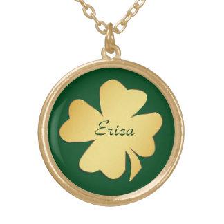 Gold Shamrock on Green Personalized Round Pendant Necklace