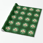 Gold Shamrock On Green Wrapping Paper