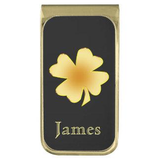 Gold Shamrock Personalized Gold Finish Money Clip