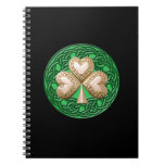 Gold Shamrock Spiral Notebook