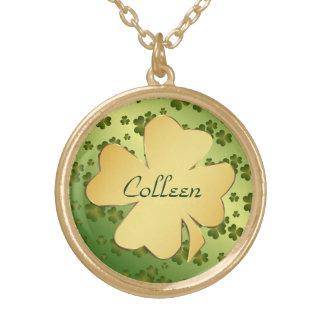 Gold Shamrock with Green Shamrock Background Round Pendant Necklace