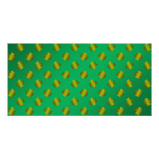 Gold shamrocks on green photo card template