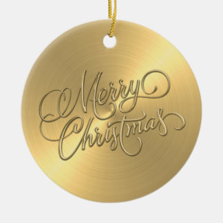 Gold Sheen and Gold Merry Christmas Ceramic Ornament