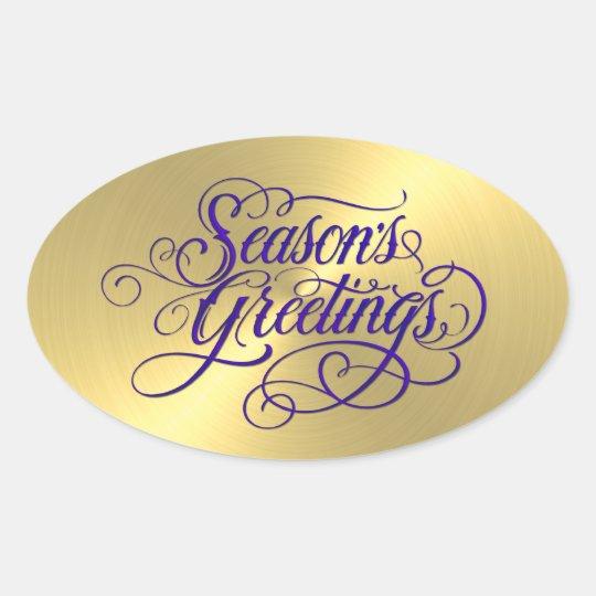 Gold Sheen Purple Season's Greetings Sticker
