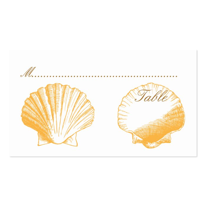 Gold Shells Wedding Reception Seating Cards