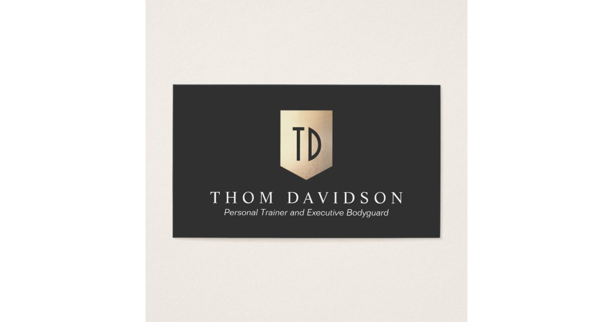 Gold Shield Monogram Logo Protection and Security Business Card ...