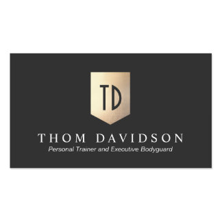 Gold Shield Monogram Logo Protection and Security Double-Sided Standard Business Cards (Pack Of 100)