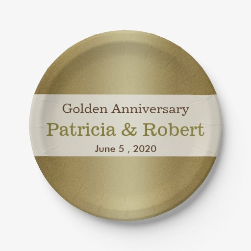 Gold Shimmer 50th Wedding Anniversary Paper Plate Zazzle