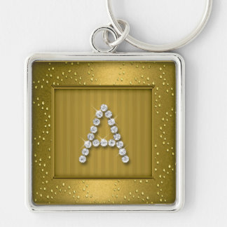 Gold Shimmer and Sparkle with Monogram Keychain