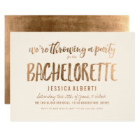 Gold Shimmer Chic Bachelorette Party Card