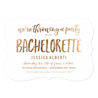Gold Shimmer Chic Bachelorette Party Invitation