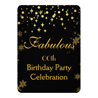 Gold Shimmer Lights Birthday Party Card