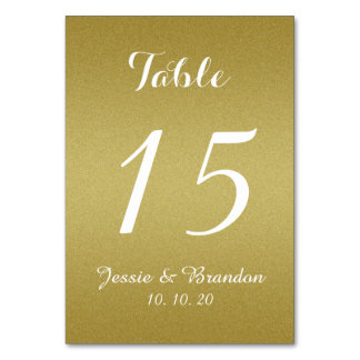 Gold Shimmer Script Wedding Table Number Card Table Cards