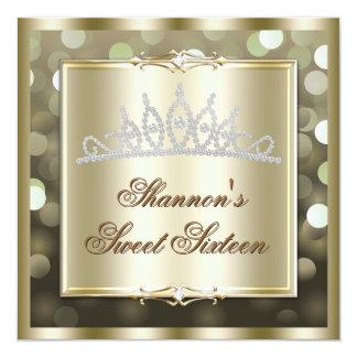 Gold Shimmering Lights Bokeh Sweet Sixteen Invite