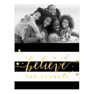 Gold Shine Believe | Holiday Photo Postcard