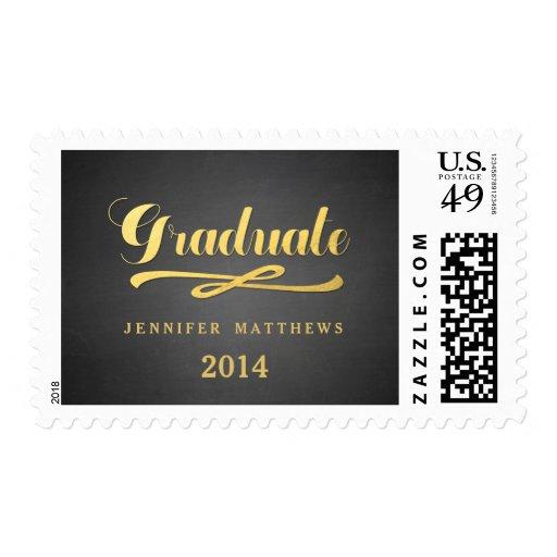 Gold Shine Chalkboard Graduation Postage Stamp