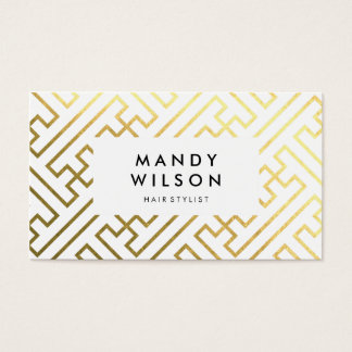 Gold Shine Geometric Pattern Business Cards