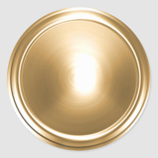 Gold Shiny Envelope Seal Classic Round Sticker