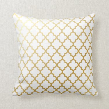 Gold Shiny Metallic Quatrefoil Pattern Throw Pillows