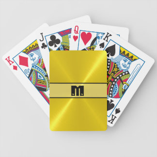 Gold Shiny Stainless Steel Metal Bicycle Playing Cards