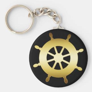 GOLD SHIP WHEEL KEYCHAIN