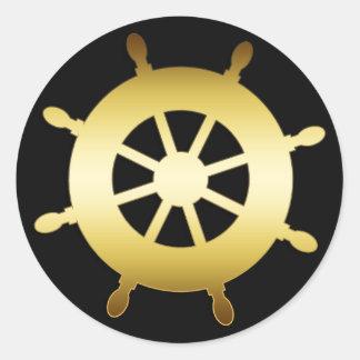 GOLD SHIP WHEEL ROUND STICKERS