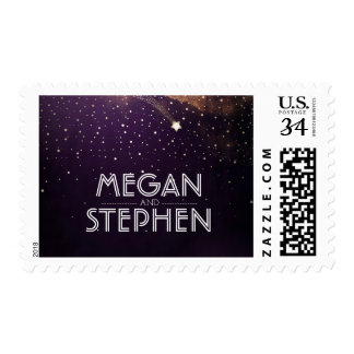 Gold Shooting Star Plum Purple Night Wedding Postage