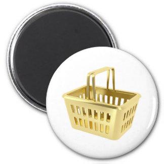 Gold shopping basket magnet