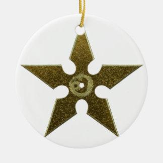 Gold Shuriken with Gold Dragon Ceramic Ornament
